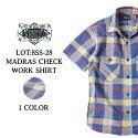 エイトジー,EIGHT-G,マドラスチェック,ワークシャツ,半袖,8SS-28