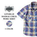 ワークシャツ シャツ 半袖 メンズ アメカジ マドラスチェック 国産 日本製 おしゃれ 大人 エイトジー EIGHT-G MADRAS CHECK WORK SHIRT…