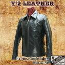 ワイツーレザー Y'2 LEATHER 衿つきシングルライダース ホースハイドレザー 馬革 ライダースジャケット 黒 革 レザージャケット Y2 メ…