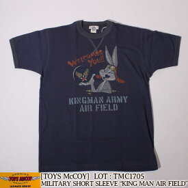 "TOYS McCOY ミリタリーリンガーTシャツ MILITARY TEE SHIRT, BUGS BUNNY ""KINGMAN ARMY AIR FIELD"" [TMC1705] トイズマッコイ ルーニー・テューンズ Looney Tunes バッグスバニー 半袖 ミリタリー アメカジ メンズ"