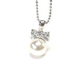 ネックレス リボン パール 真珠 りぼん シルバー ジルコニア V系 バンギャ ゴスロリ ロリータ 可愛い