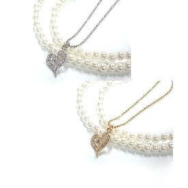 ネックレス ハート パール 真珠 可愛い ジルコニア ゴールド シルバー パーティー バンギャ 大人おしゃれ ロリータ