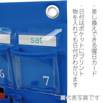 日本製サキSAKIカレンダーポケット・Mコードバン×クリアーW-416BRウォールポケット