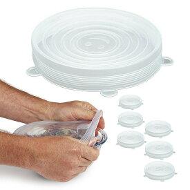V@CHANN シリコーンラップ 保存容器などに対応 シリコン蓋 食品の保存 使い方次第で無限な可能性 耐冷耐熱 密閉 調理 貯蔵 ストレッチリッド 6枚セット 送料無料