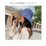 送料無料キャンバスハットハットシンプルUV対策夏帽子折りたためるハット紫外線対策ファション全8色