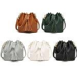 フリンジ巾着型バッグ斜め掛けかばん鞄可愛いレディース女性用合成皮革人気送料無料