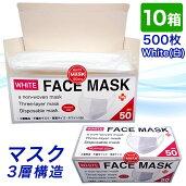 10箱日本国内発送品500枚3層構造NWノーズワイヤーマスク白ホワイト普通サイズ不織布マスク飛沫ウイルス花粉対策立体プリーツフェイスマスク10箱セット500枚EX遮断率試験BFE合格送料無料