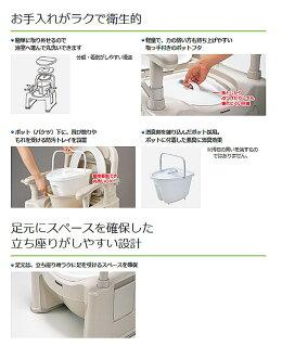 パナソニックポータブルトイレ座楽SPシリーズ背もたれ型SP標準便座タイプVALSPTSPBE(ポータブルトイレ肘付き椅子プラスチック椅子)介護用品