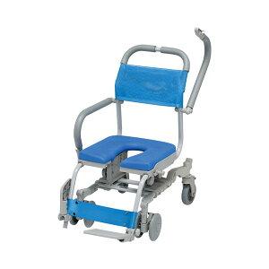 (代引き不可) シャワーラク 4輪自在 U型シート SWR-132 ウチヱ (お風呂 椅子 浴用 シャワーキャリー 背付き 介護 椅子) 介護用品