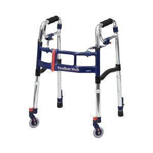 スライドフィットEX 前輪キャスター付き M-0293ST ミニタイプ ユーバ産業 (介護 歩行補助 歩行器 折りたたみ) 介護用品