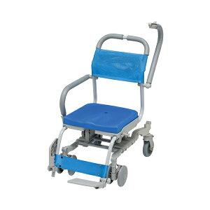 (代引き不可) シャワーラク 4輪自在 穴無しシート SWR-131 ウチヱ (お風呂 椅子 浴用 シャワーキャリー 背付き 介護 椅子) 介護用品
