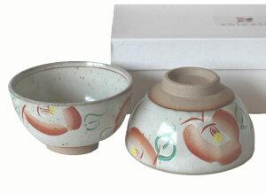 【美濃焼赤絵】ギフト用箱入つばき 夫婦ご飯茶碗(ペア茶碗)セット