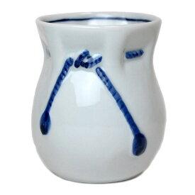 青磁 巾着型をした 紺色の紐の湯呑(大)