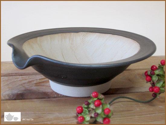 すり鉢 波紋 10号 (30cm)粋な黒 花型キッチン用品・食器・調理器具 スリ鉢