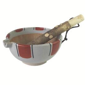 すり鉢 赤絵太トクサ 5号 丸形【山椒 すりこぎ付】調理器具 食器