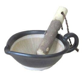 すり鉢 粋な黒 ごますり用 小 山椒すりこぎ付国産 業務用 食器