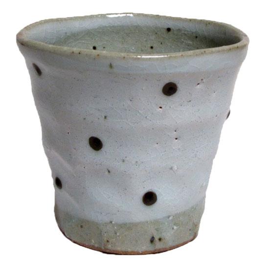 フリーカップ 粉引一珍水玉 チューハイカップ 寿司湯呑