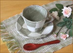 コーヒーカップ&ソーサー市松土物コーヒー碗皿土の手触りにホッ!!