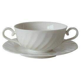 スープカップ(受け皿付) ニューウエーブ  ブイヨン碗 乳白シルキーボン