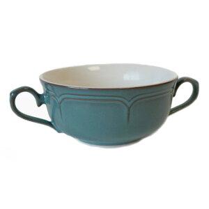 両手スープカップ ラフィネ アンティークブルー(300cc) 国産/食洗機ok/レンジok/