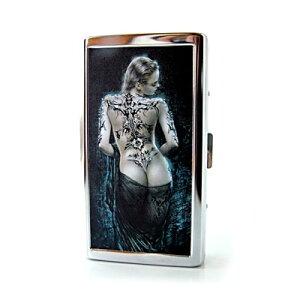 【メール便送料無料】ワイルドなアルミ製シガレットケース タトゥー レディー メタリック/タバコ/煙草/シルバー/メンズ