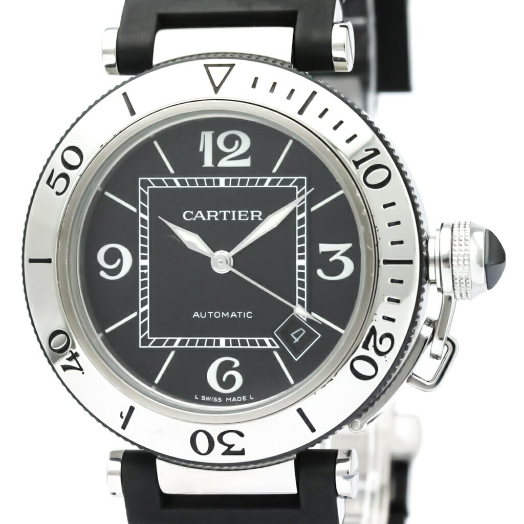 カルティエ (CARTIER) パシャ シータイマー ステンレススチール ラバー 自動巻き メンズ 時計 W31077U2 (外装仕上げ済み) 【中古】