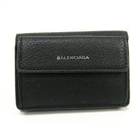 バレンシアガ(Balenciaga) エッセンシャル ミニウォレット 410133 レディース レザー 財布(三つ折り) ブラック 【中古】