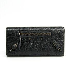 バレンシアガ(Balenciaga) クラシック 253038 レザー 長財布(二つ折り) ブラック 【中古】