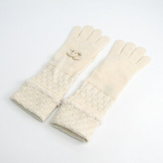 Chanel (Chanel) here lady's long length gloves off-white rayon, cashmere