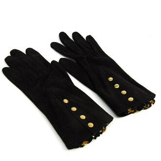 Hermes Serie Lady's short length gloves black suede, silk pleats scarf 6 1/2