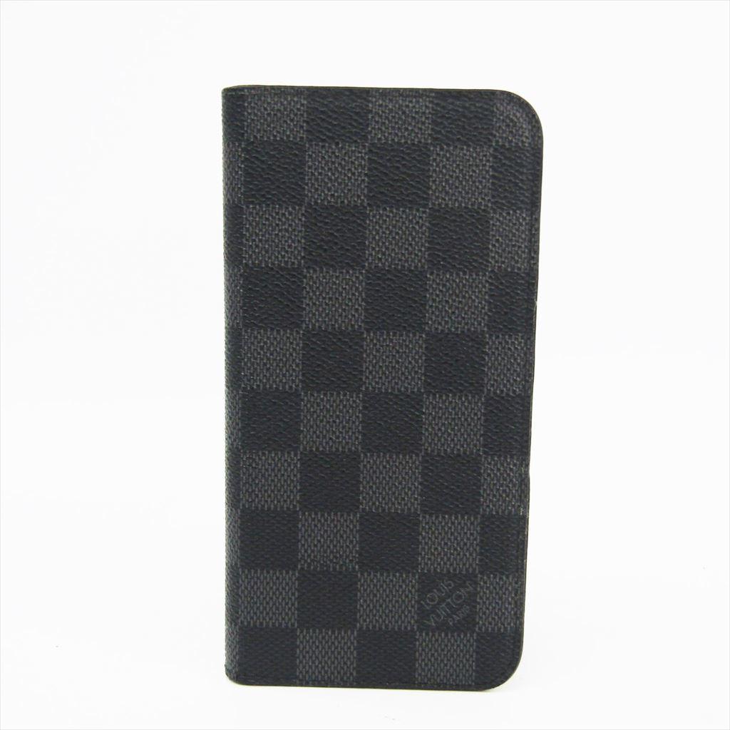 ルイ・ヴィトン(Louis Vuitton) ダミエ・グラフィット ダミエキャンバス 手帳型/カード入れ付きケース iPhone 8 Plus 対応 ダミエ・グラフィット フォリオ N63352 【中古】