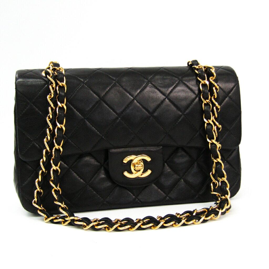 シャネル(Chanel) マトラッセ ダブルフラップ・ダブルチェーンバッグ A02800 レザー ショルダーバッグ ブラック 【中古】