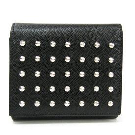 サン・ローラン(Saint Laurent) 365223 ユニセックス 型押しカーフ スタッズ 財布(三つ折り) ブラック 【中古】