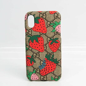 グッチ(Gucci) ストロベリー IPHONE ケース 587678 GGスプリーム スキンシール iPhone X 対応 ベージュ,ダークブラウン,マルチカラー 【中古】