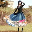 オリジナルデザイン レトロ調 レディース スカート ボリューム 異素材 フリル デニム お洒落 ダンス 衣装にも♡ …