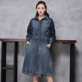 オリジナルデザイン レトロ調 レディース デニムワンピース 袖刺繍 シンプル S M L XL