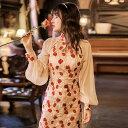 オリジナルデザイン チャイナ風ドレス レディースワンピース レトロ調 バルーン袖 長袖 ロング丈 S M L