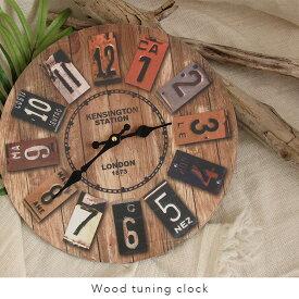 【土日祝も発送】時計 置き時計 ウッド 木 インテリア 西海岸風 雑貨 アメリカン ビンテージ風/ウッド調掛け時計