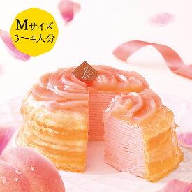 季節のミルクレープ 桃 12cm casaneo(カサネオ)冷凍ケーキ 2020 お中元 夏 ギフト 食べ物 プレゼント 誕生日 スイーツ 手土産 プレゼント ケーキ 誕生日ケーキ 大人 お取り寄せ グルメ お菓子