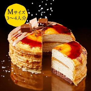 季節のミルクレープ 塩キャラメル 12cm  casaneo(カサネオ)冷凍ケーキ 2019 お歳暮 冬 ギフト 食べ物 プレゼント 誕生日 スイーツ 手土産 プレゼント ケーキ 誕生日ケーキ 大人 お取り寄せ グル