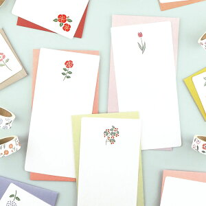 mois et fleurs モワ・エ・フルール 一筆箋レターセット|メール便対応 定形内 手紙 封筒 便箋 レターセット