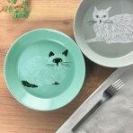 松尾ミユキプレートL(ネコ)21cm【お皿深皿カレー皿パスタ皿取皿食器磁器】