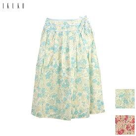 60%OFF イクコ IKUKO コットン 小花柄 サイトリボン付き スカート DW180C