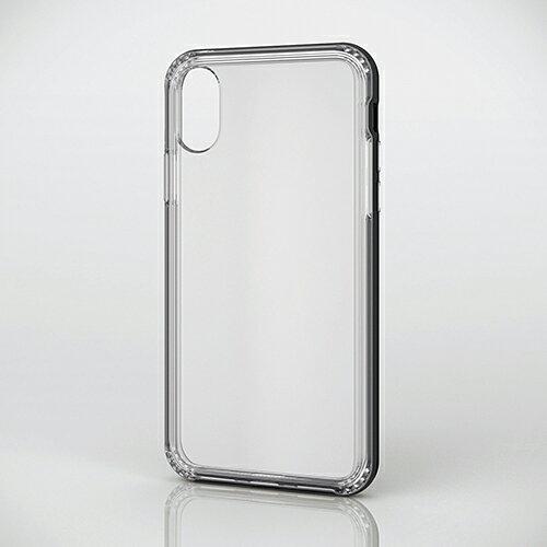 エレコム iPhoneXS iPhoneX ケース 耐衝撃ハイブリッドバンパーケース アルミライクバンパー付 ブラック PM-A17XHVBCBK