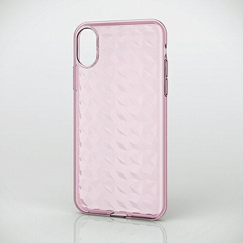 エレコム iPhoneX ケース 衝撃に強く丈夫なケース ソフトケース ダイヤモンドカット ピンク PM-A17XUCJPN