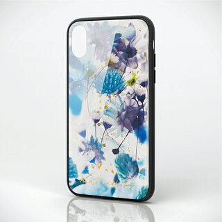 エレコムiPhoneXRケースガラスケースGRANGLASSレディースハーバリウムブルーPM-A18CHVCG5T6