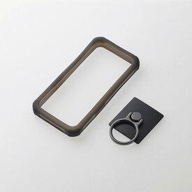エレコム スマートフォン用汎用衝撃吸収シリコンバンパー Lサイズ フィンガーリング付き ブラック P-SCBSTRBK