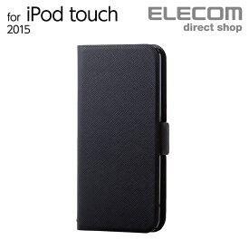 エレコム iPod touch ケース 手帳型 ソフトレザーカバー 薄型 ブラック 第6世代対応 AVA-T17PLFUBK