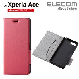 エレコム Xperia Ace (SO-02L) 用 ソフトレザーケース 薄型 磁石付 手帳型 スマホ エクスペリア エース カバー レッド PD-XACEPLFURD