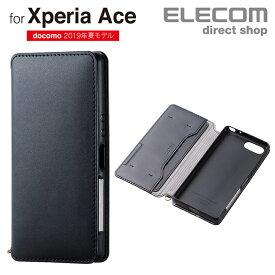 エレコム Xperia Ace (SO-02L) 用 ソフトレザーケース 磁石付 手帳型 スマホ エクスペリア エース カバー ブラック PD-XACEPLFY2BK